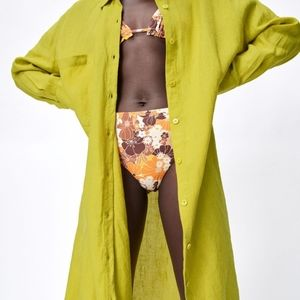 Zara XL Green oversize linen long midi maxi dress